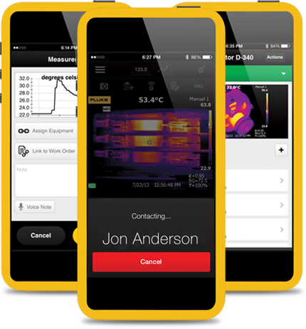 The Fluke Connect App on iPhone and Android Devices, allows you to see, save and share measurements from Connect enabled tools
