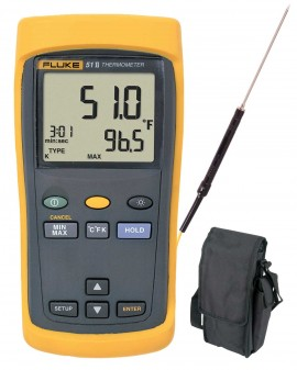 Fluke 51-2 Thermometer Kit - Includes LS-134A Type K Needle Tip Probe & CA-05A Carrying Case for FREE