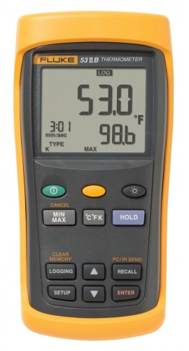 Fluke 53-2-B single input thermometer w/usb recording 60hz noise rejection