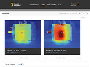 So sánh hai hình ảnh hồng ngoại trên phần mềm Tài sản Fluke Connect ™