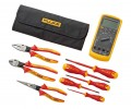 Fluke IB875K 87V Industrial Multimeter & Insulated Hand Tools Starter Kit with Roll Up Pouch-